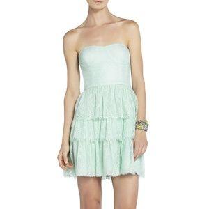 BCBG MAX AZRIA LILAH MINT LACE STRAPLESS DRESS 12